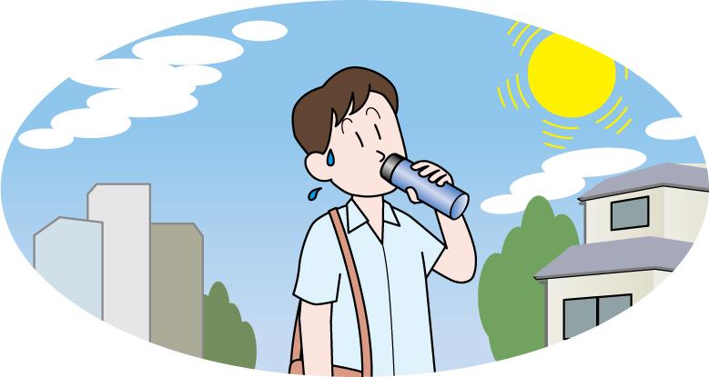 熱中症対策 水分補給をしているイラスト